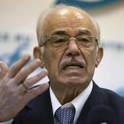 Hassan Abdul-Azim, head of the Syrian opposition National Coordination Body speaks at a news conference in Moscow on Tuesday, April 17, 2012.  Members of a Syrian opposition delegation say they hope that Russia will apply its power to persuade Syrian President Bashar Assad to observe Kofi Annan's cease-fire plan.