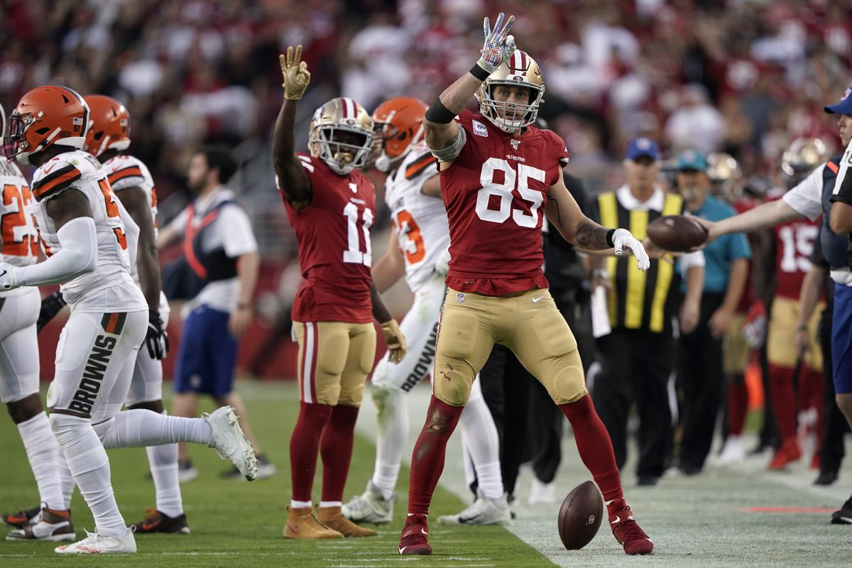 San Francisco 49ers tight end George Kittle reacts after picking up a first down against the Cleveland Browns in the second quarter at Levi's Stadium.