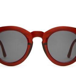 """Crap Eyewear T.V. Eye sunglasses in Gloss Cherry Cola, <a href=""""http://www.crapeyewear.com/collections/thetveye/products/the-tv-eye-gloss-cherry-cola-w-grey-lenses"""">$56</a>"""