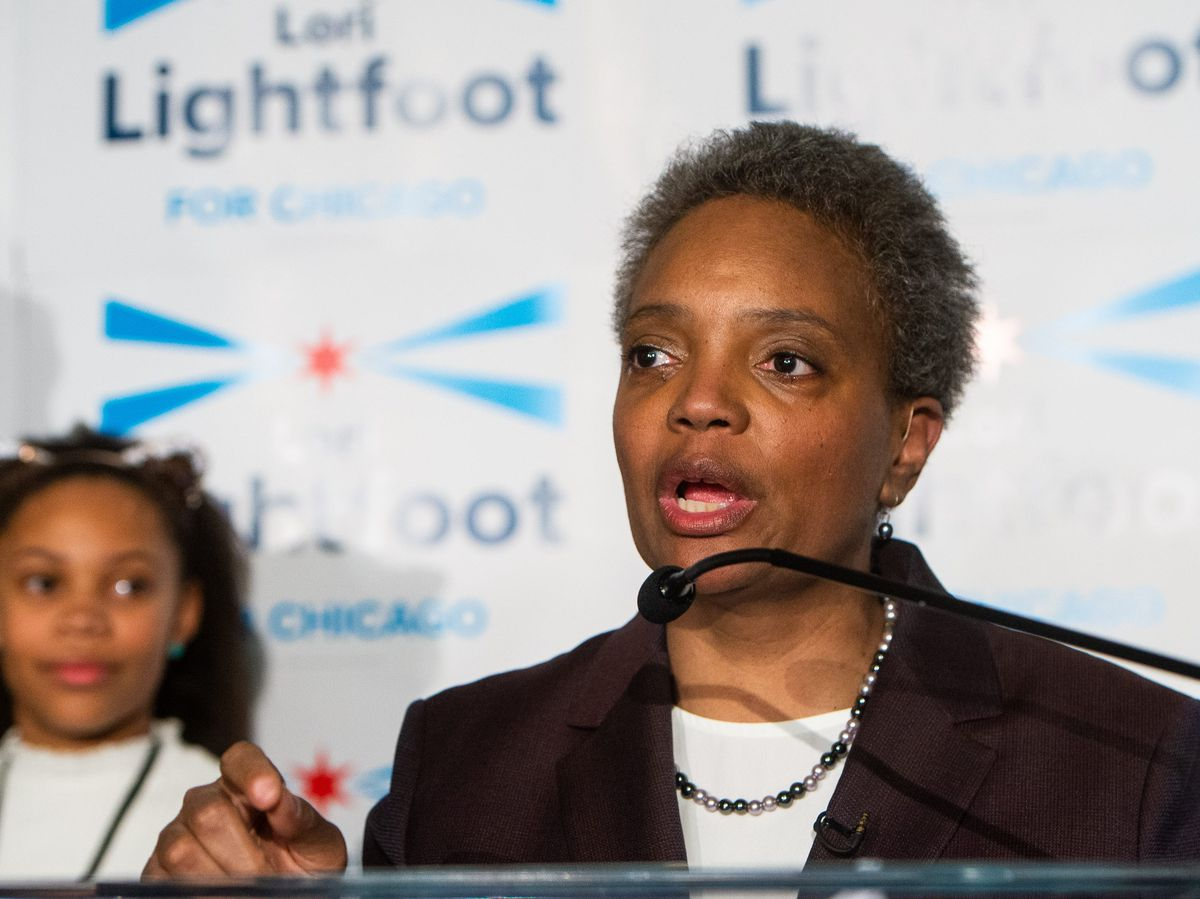Chicago Mayoral Candidate Lori Lightfoot addresses the crowd at her election night party as she leads in the polls, Tuesday, Feb. 26, 2019, in Chicago. | Tyler LaRiviere/Sun-Times