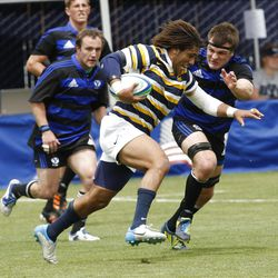 BYU defeats Cal 27-24 in rugby on a drop as time expires to win the Varsity Cup national championship Saturday, May 4, 2013, in Provo.
