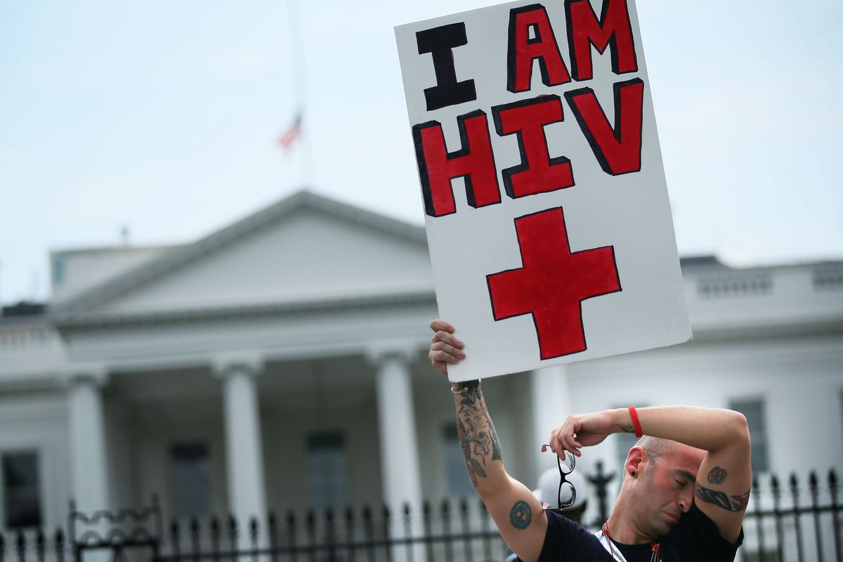 An HIV/AIDS activist marches outside the White House.