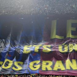 A banner that it reads 'Leo you are unique and the biggest' is displayed on the stands prior to the Spanish La Liga soccer match between FC Barcelona and Athletic Bilbao at the Camp Nou stadium in Barcelona, Spain, Saturday, March 31, 2012.