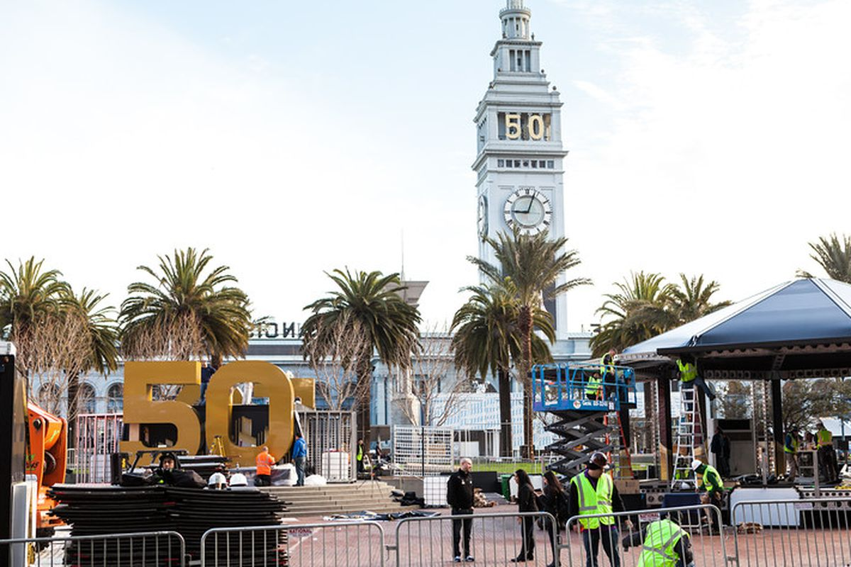 """Super Bowl City is being constructed at the foot of Market Street; photos of construction by <a href=""""http://www.patriciachangphotography.com"""">Patricia Chang</a>"""