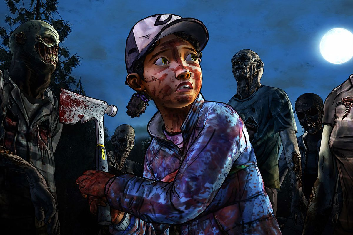 A screenshots of Clementine surrounded by zombies from The Walking Dead: TheTelltaleSeries season 2