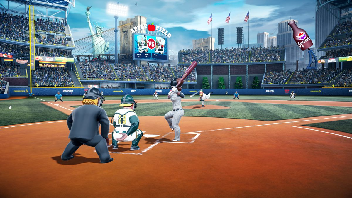 Super Mega Baseball 2 - preparing to swing at Apple Field
