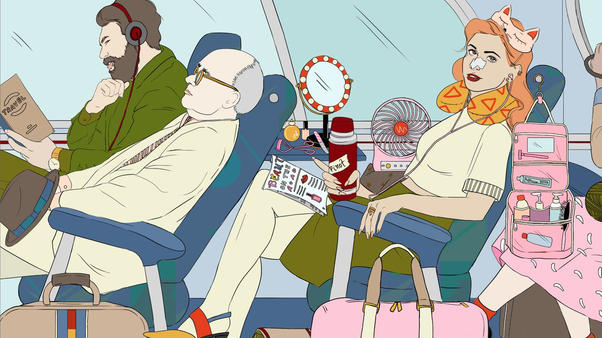 An illustration of a woman with a lot of beauty products on a crowded bus