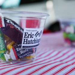 Candy-filled cups featuring the logo of House District 38 candidate Eric Hutchings are pictured during a Hometown Day drive-thru event at the Olympic Oval parking lot in Kearns on Saturday, Aug. 8, 2020. During the event, residents were given a washable Kearns masks to support the fight against COVID-19, visited with elected leaders and candidates, and entered a drawing for prizes.