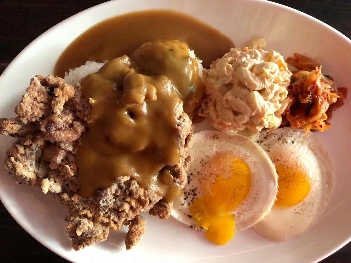 Mochiko chicken loco moco at Noreetuh