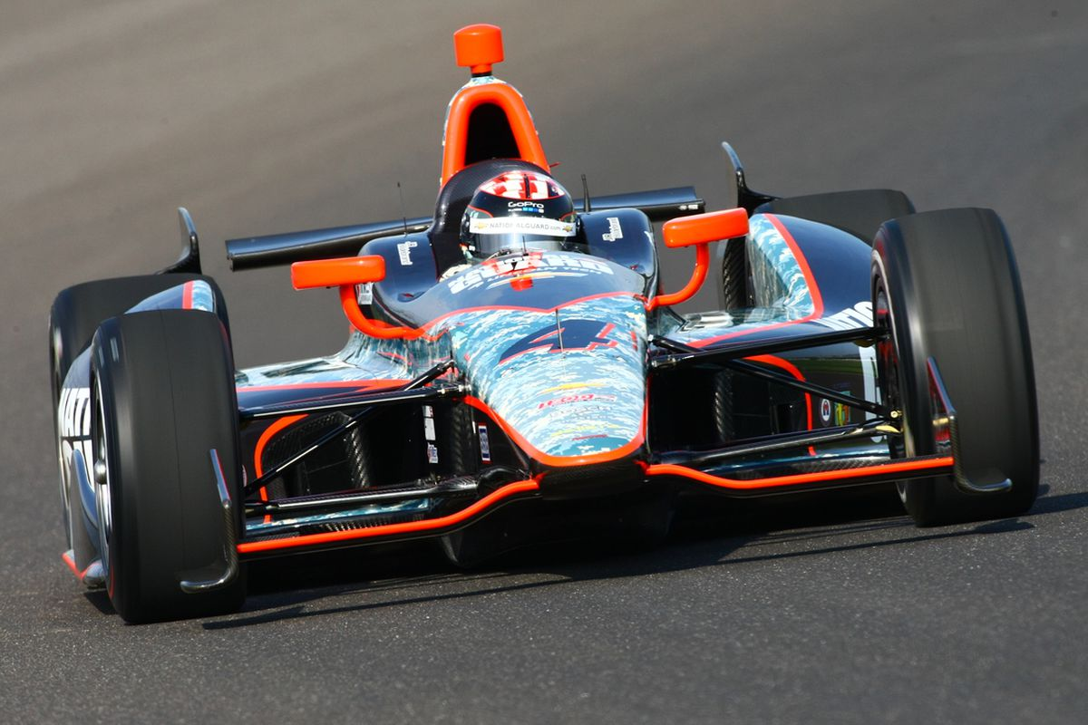 The #4 National Guard Dallara driven by JR Hildebrand in testing at the Indianapolis Motor Speedway on April 4, 2012. (Photo: Bret Kelley/INDYCAR)