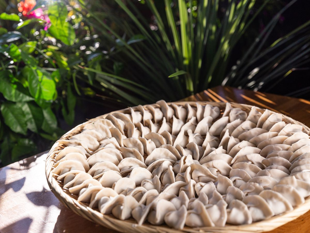 A circular plated filled with Chinese dumplings.