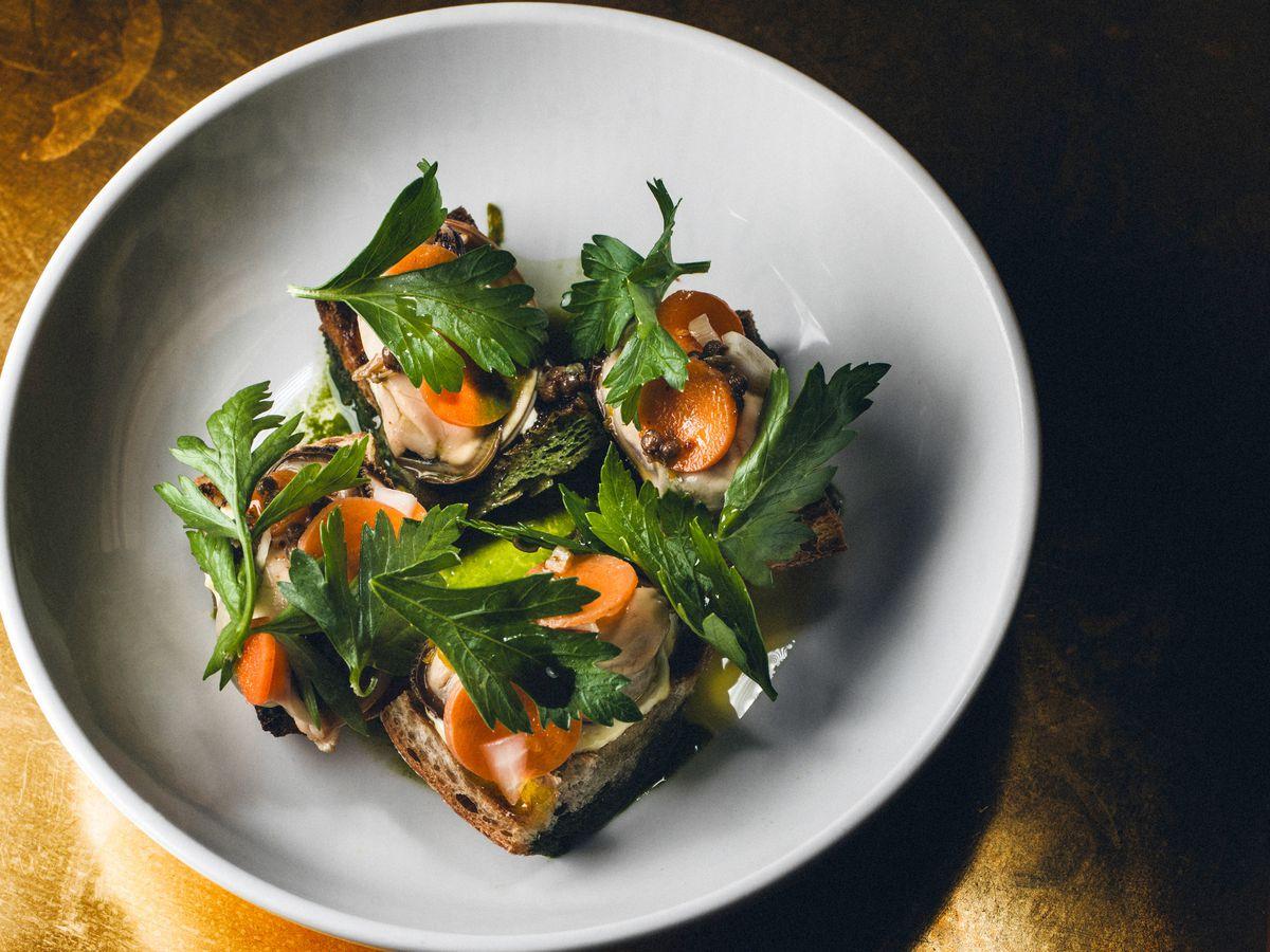 Estela's mussels escabeche toast