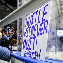 Syracuse Crunch fan's sign as the cheer on the Crunch against the Toronto Marlies in an American Hockey League (AHL) Calder Cup Playoff game at the War Memorial Arena in Syracuse, New York on Sunday, May 6, 2018. Toronto won 7-1.