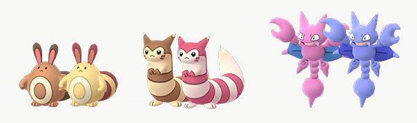 Shiny Sentret, Furret, and Gligar stand next to their original forms in Pokémon Go