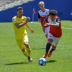 Kevin Bonilla (12) racing down the pitch during the opening match of the 40th Annual Dallas Cup.