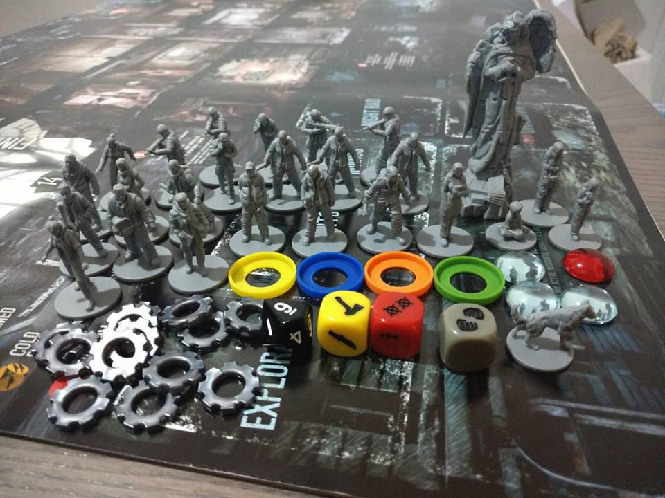 A collection of 28 mm plastic miniatures, dice and assorted tokens.