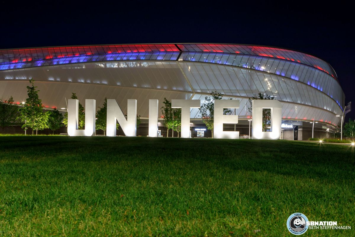 July 3, 2019 - Saint Paul, Minnesota, United States - Allianz Field is lit up with red white and blue in observation of Independence Day following the Minnesota United vs San Jose Earthquakes match.