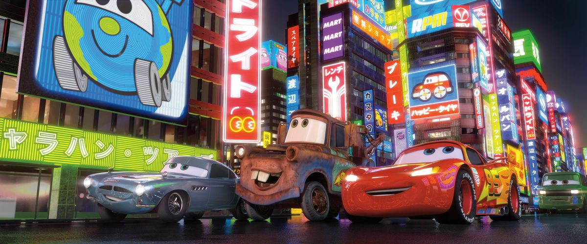 Finn McMissile, Mater, and Lightning McQueen in Cars 2