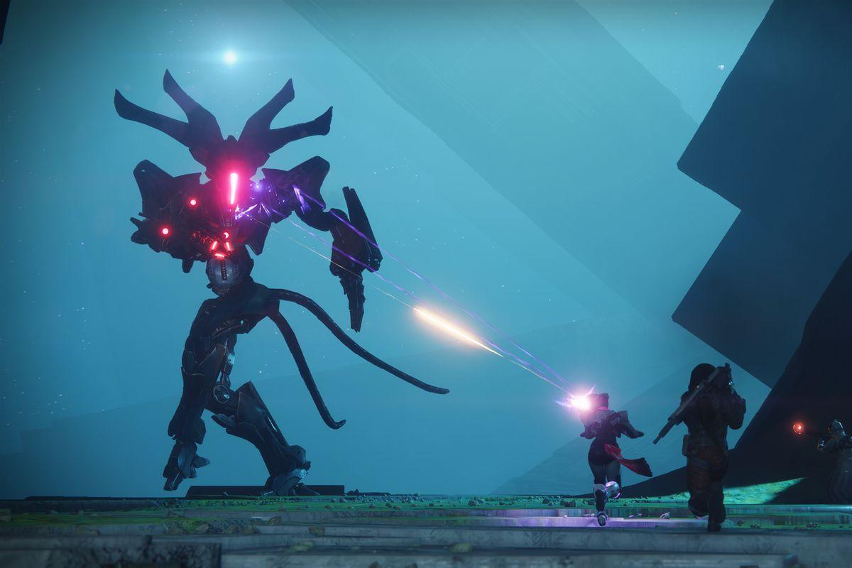 Destiny 2 - three Guardians fighting the Genesis Mind, the final boss of the Pyramidion strike