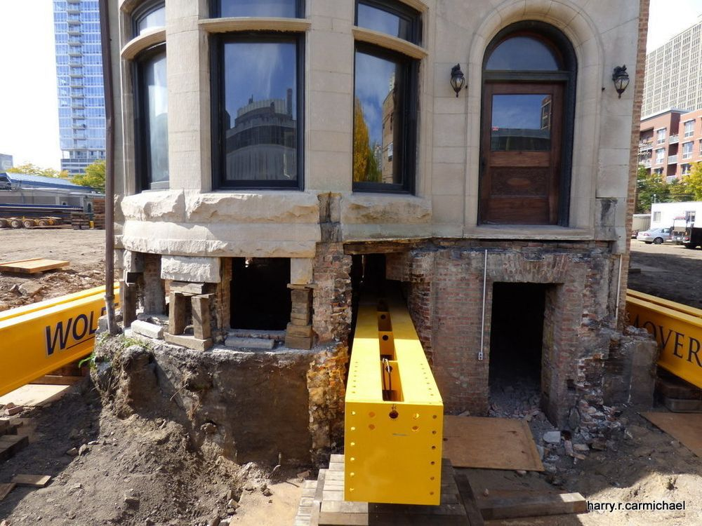 A view of the foundation of the Harriet F. Rees house with the steel supports added.
