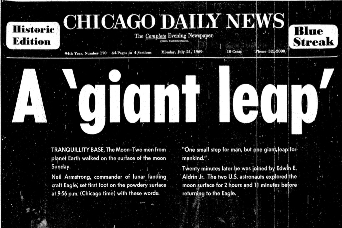 The cover of the Chicago Daily News on July 21, 1969.