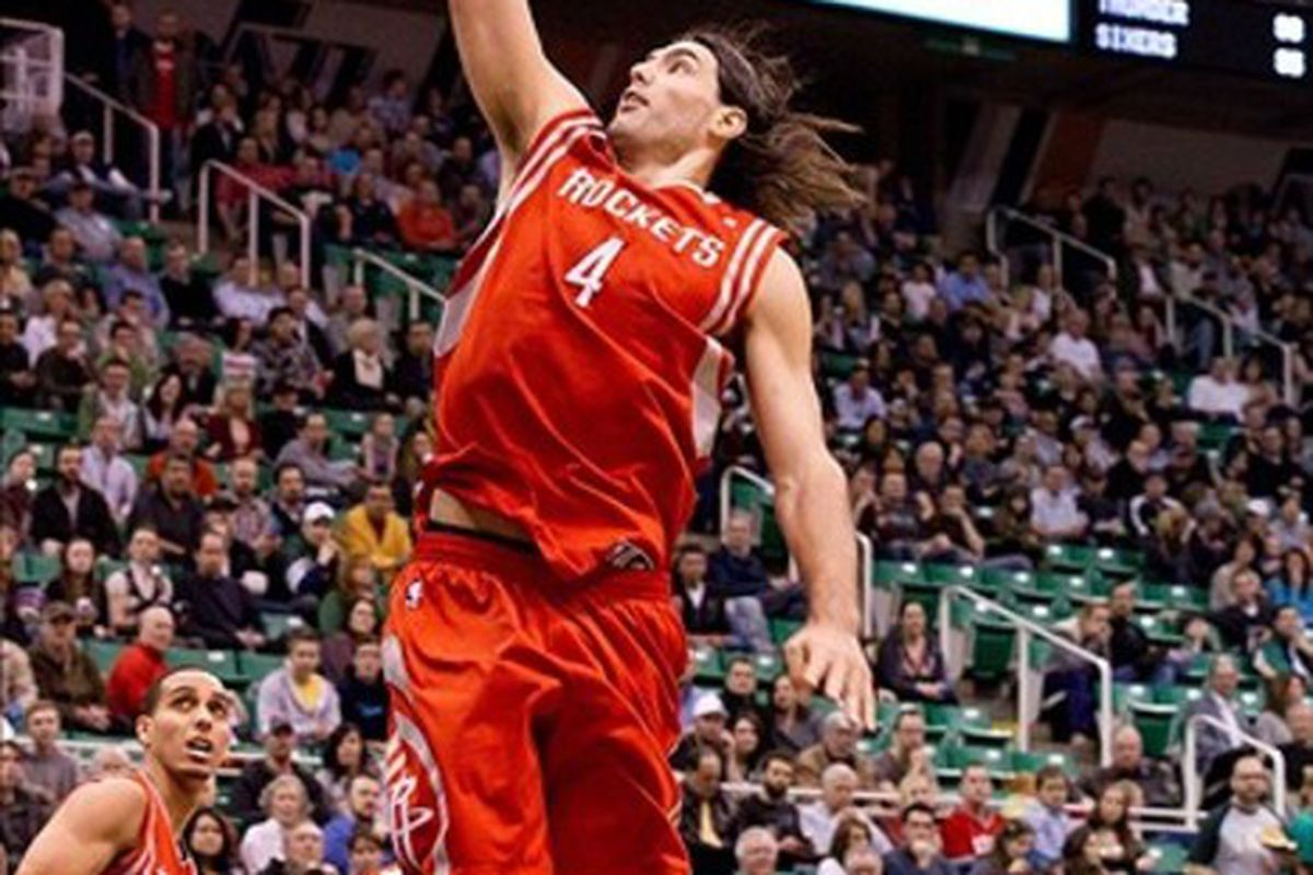 February 29, 2012; Salt Lake City, UT, USA; Houston Rockets power forward Luis Scola (4) dunks during the first half against the Utah Jazz at Energy Solutions Arena. Mandatory Credit: Russ Isabella-US PRESSWIRE