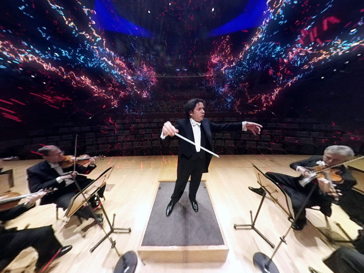A screenshot from inside the Orchestra VR app