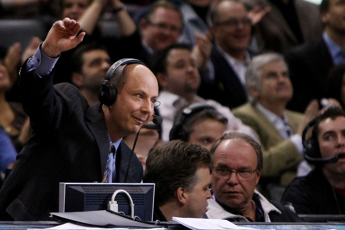 RAPTORS VS KINGS--01/16/2008--Voice of the Toronto Raptors Chuck Swirsky waves to the fans in attend