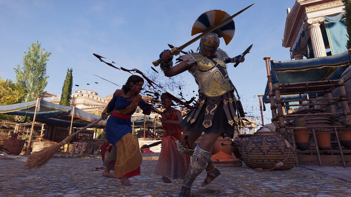 Assassin's Creed Odyssey - Kassandra being laid out with a broom
