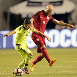 Venezuela's Jefferson Savarino (10) and United States midfielder Michael Bradley (4) fight for the ball during a soccer game at Rio Tinto Stadium in Sandy on Saturday, June 3, 2017. They tied 1-1.