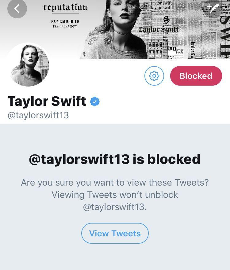 Twitter screenshot saying Taylor Swift's handle is blocked