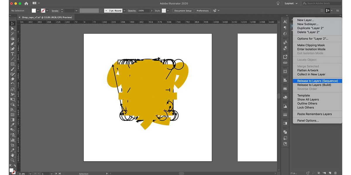 Adobe Illustrator Layers Panel with Release to Layers (Sequence) option selected