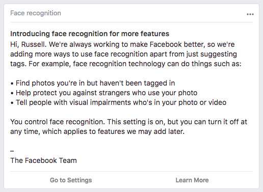Facebook is starting to tell more users about facial