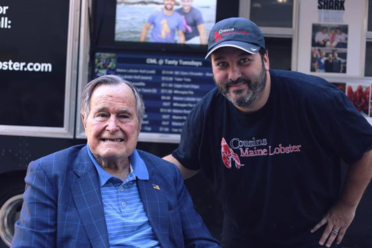 President George H.W. Bush with Neil Werner of Cousins Maine Lobster in Houston.