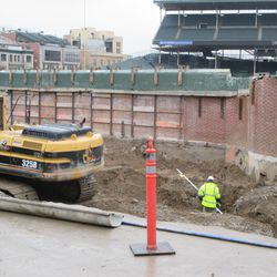 Another view of digging in the left-field bleachers