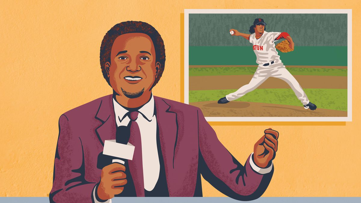 An illustration of Pedro Martínez speaking on TV with an image of him pitching for the Red Sox in the background