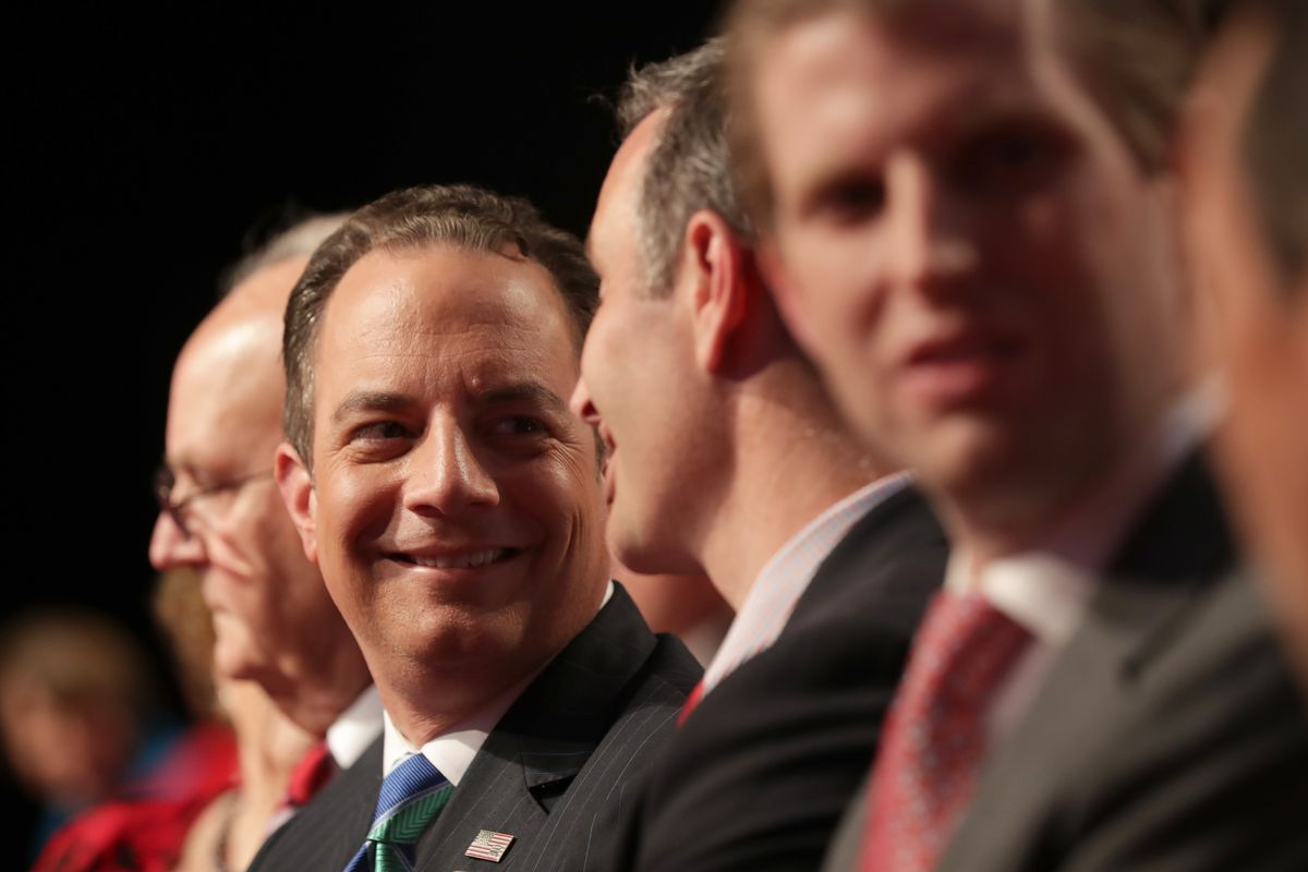Reince Priebus, chair of the Republican National Committee, attends the vice presidential debate between Democratic vice presidential nominee Tim Kaine and Republican vice presidential nominee Mike Pence at Longwood University on October 4, 2016 in Farmville, Virginia.