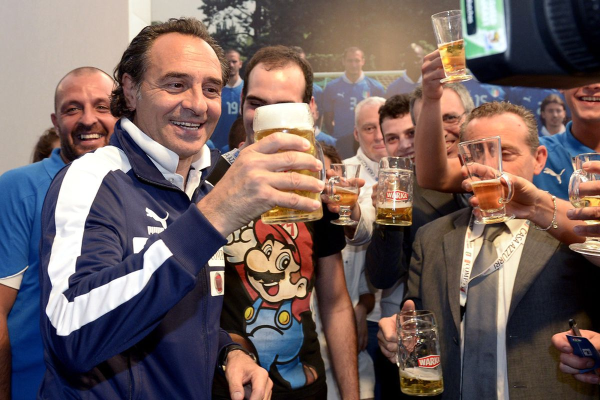 Cesare is clearly celebrating a berth in next summer's Confederations Cup. Don't really see any other reason as to why beating Germany last Thursday would be reason to party with a beer and some friends.