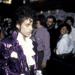 Being iconic at the premiere of Purple Rain in 1984.