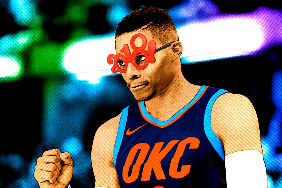 Russell Westbrook wearing 2018 New Year's glasses