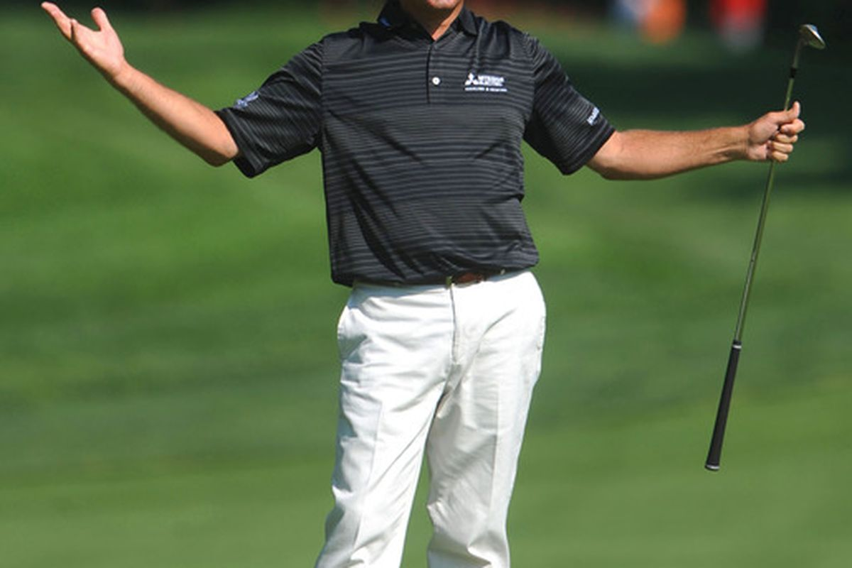 May 31, 2012; Dublin, OH, USA: Fred Couples reacts after hitting an approach shot at the fourteenth hole during the first round of the Memorial Tournament at Muirfield Village Golf Club.  Mandatory Credit: Eric P. Mull-USPRESSWIRE