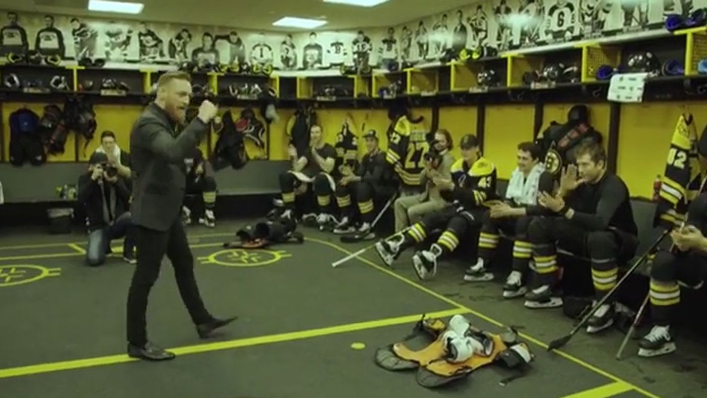 4c18b8ad68e Watch Conor McGregor hype up the Boston Bruins: 'Every one of yous is the  enforcer!' - MMAmania.com