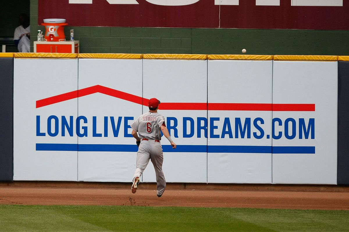 Drew Stubbs watches Rickie Weeks' fifth inning home run go over the fence to give the Brewers a 4-2 lead.