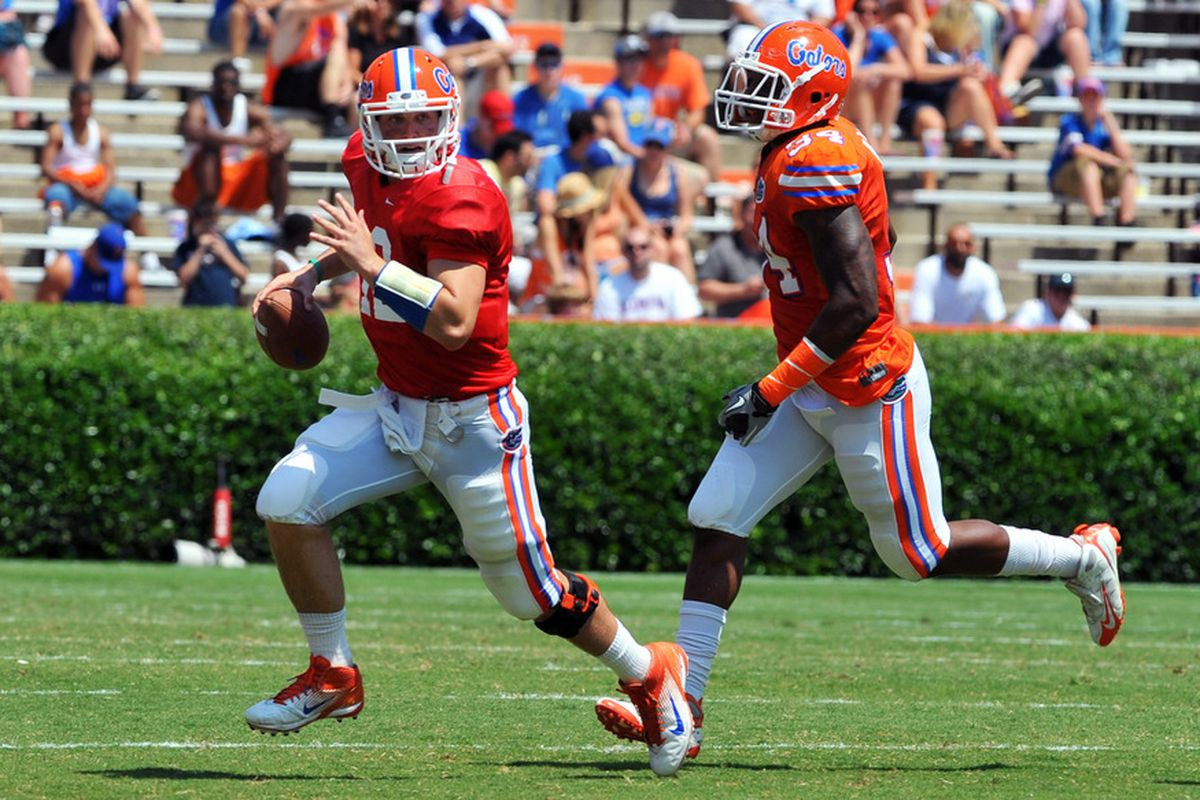 GAINESVILLE, FL - APRIL 9:  Quarterback John Brantley #12 of the Florida Gators runs upfield during the Orange and Blue spring football game April 9, 2010 Ben Hill Griffin Stadium in Gainesville, Florida.  (Photo by Al Messerschmidt/Getty Images)