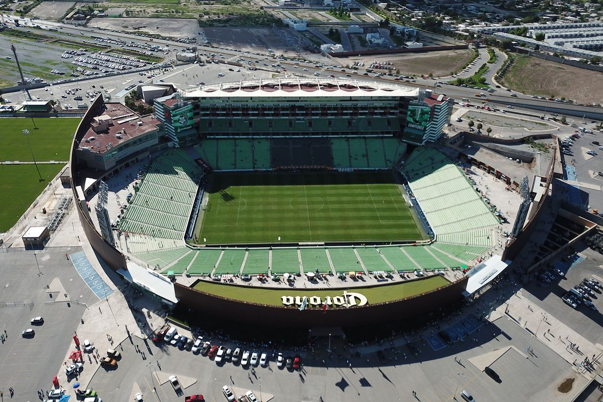 Aerial view of Estadio Corona TSM.