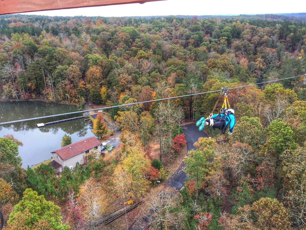 A person is attached to a zip line over trees with multicolored autumn leaves. There is a lake in the distance.