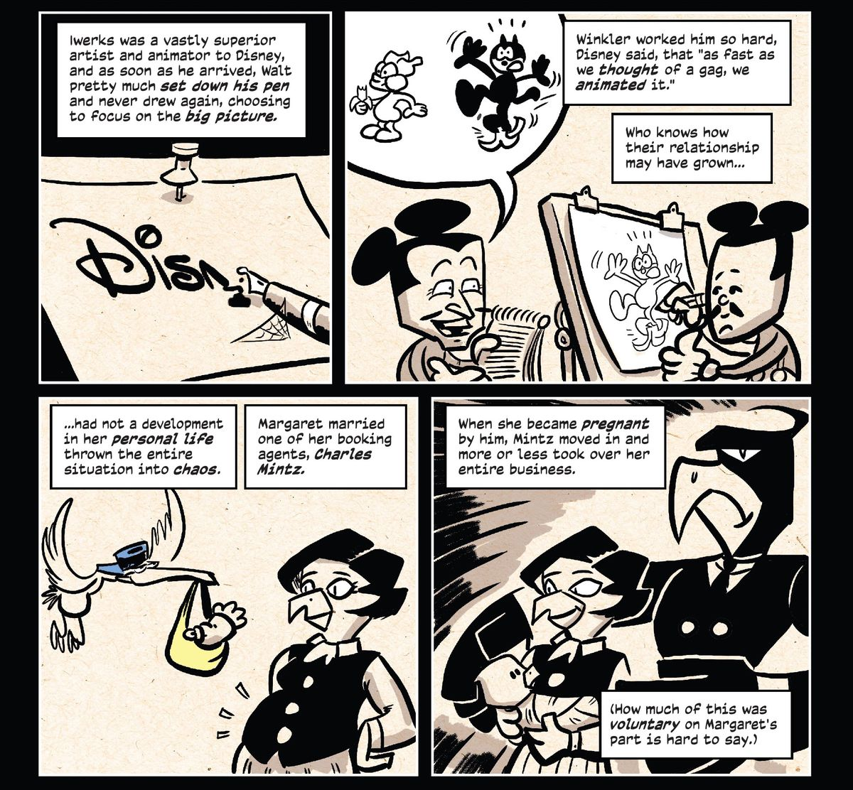 Four panels describe an early relationship with Walt Disney and Margaret Mintz, a rare woman with some power in the early animation industry, until her new husband took over her entire business, in The Comic Book History of Animation #1, IDW Publications (2020).