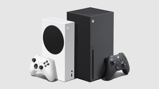 a product render showing an angle view of the Xbox Series S standing vertically with a controller standing against it, to the left of an Xbox Series X standing vertically with a controller standing against it