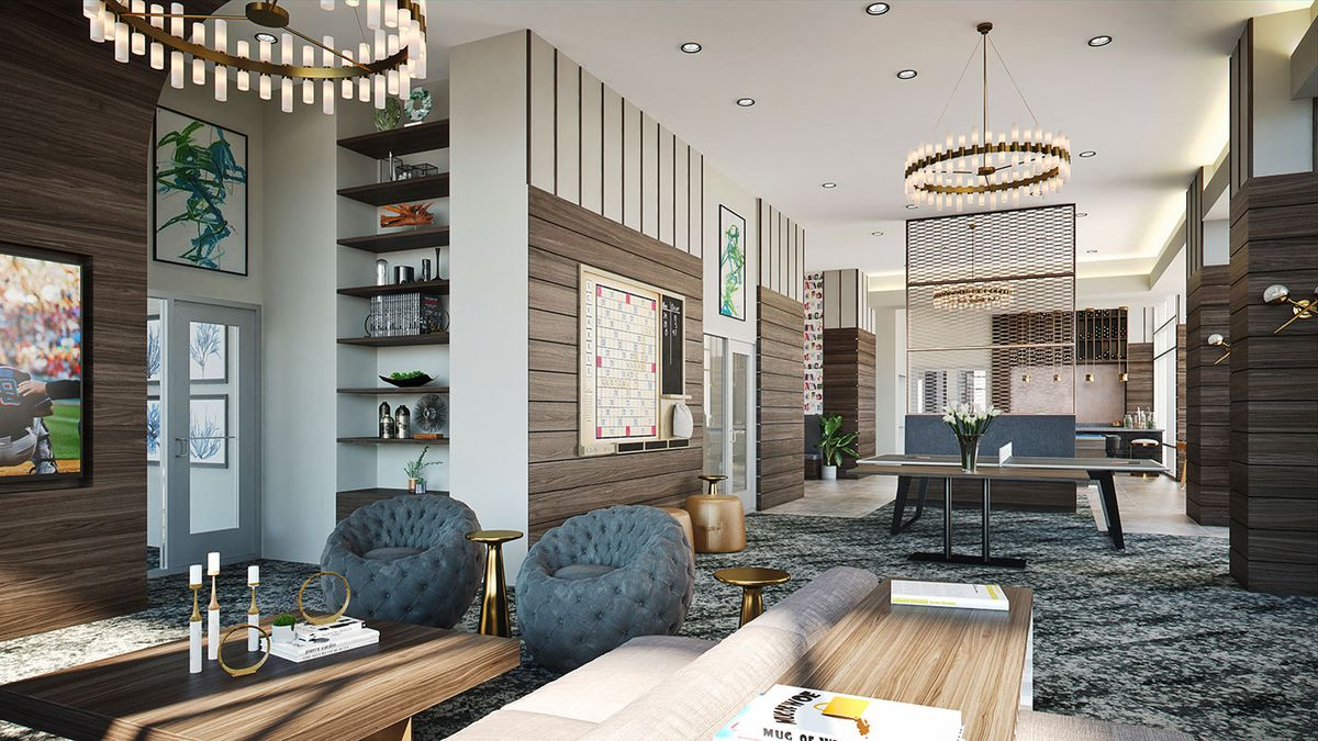 A rendering of communal space, with posh furniture and chandeliers.