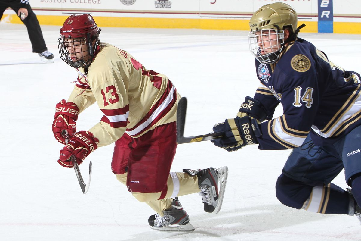 Matty Gaudreau's brother makes a play against the Irish